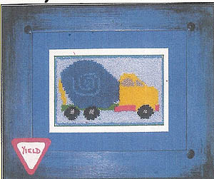 Boys At Work: Cement Truck (Punchneedle w/printed fabric)
