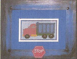 Boys At Work: Dump Truck (Punchneedle w/printed fabric)