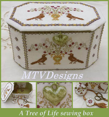 Tree Of Life Sewing Box (includes Porcelain Heart)