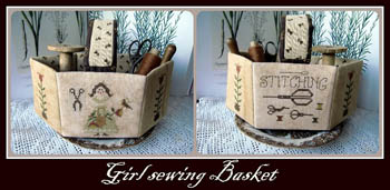 Girl Sewing Basket