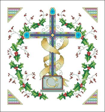 Holly Wreath Cross