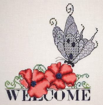Poppy & Blackwork Butterfly Welcome