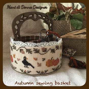 Autumn Sewing Basket (w/woodenhandle)
