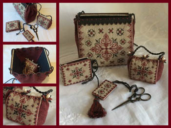 Black Ruby Sewing Purse & Wooden Rods