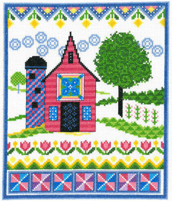 Barn With Spring Quilts