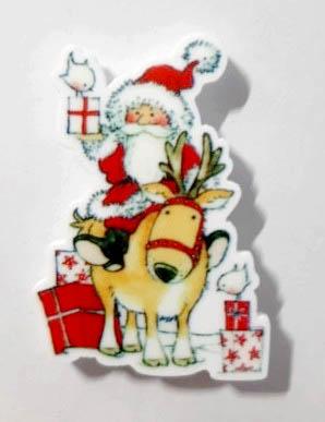 Christmas Father Arrives Magnet (Santa On Reindeer)