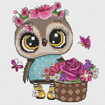 Owl With Flowers