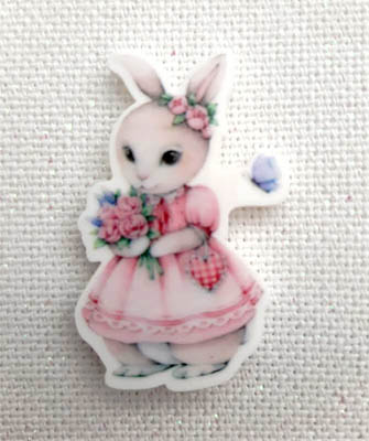 Spring Rabbit Magnet (Rabbit in Pink Dress)