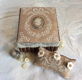 Ancient Lady Sewing Box With Medallion