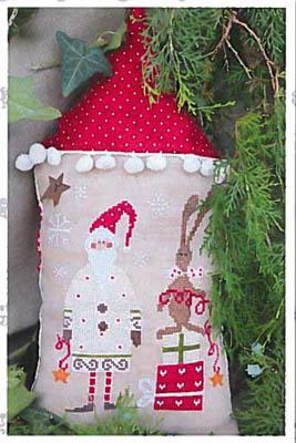 Santa With His Helper - White